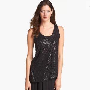 Eileen Fisher Silk Sequins Tunic Tank Top